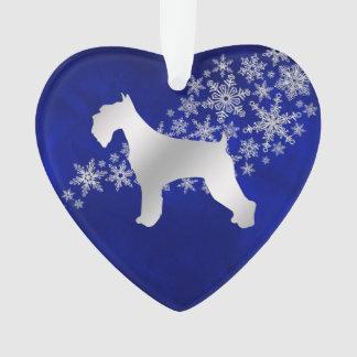 Blue Silver Snowflake Schnauzer Ornament