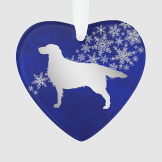 Blue Silver Snowflake Setter Dog Ornament