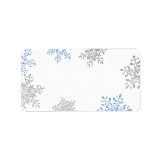 Blue Silver Snowflake Wedding Blank Address Labels