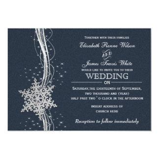 Blue Silver Snowflakes Winter wedding invitations
