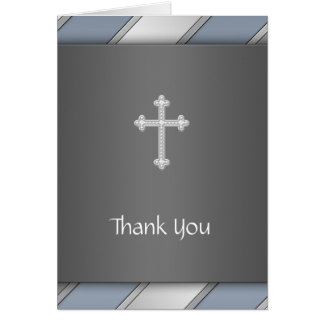 Blue Silver Stripe Cross Thank You Card