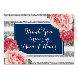 Blue Silver Stripe Pink Thanks Maid of Honor Card