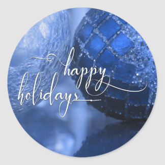 Blue, Silver & White Happy Holidays Greeting Classic Round Sticker