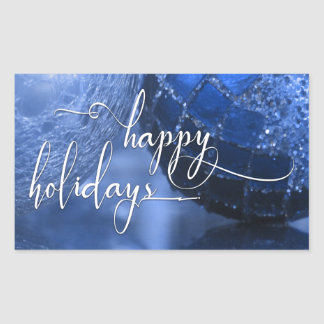 Blue, Silver & White Happy Holidays Greeting Sticker