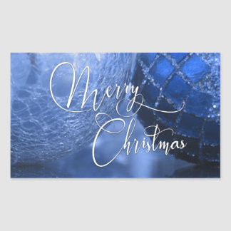 Blue, Silver & White Merry Christmas Greeting Sticker