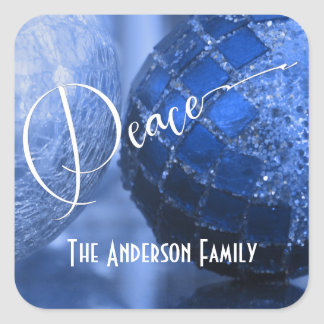 Blue, Silver & White Peace Greeting for Holidays Square Sticker