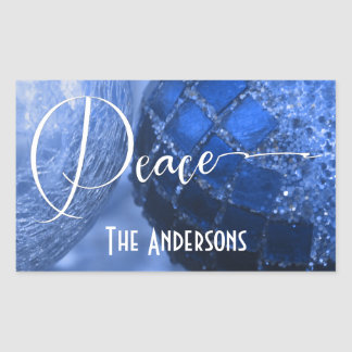 Blue, Silver & White Peace Greeting for Holidays Sticker
