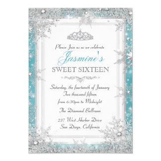 Blue Silver Winter Wonderland Sweet 16 Invitation