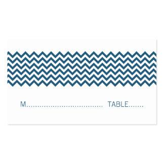 Blue Simple Chevron Place Card Business Cards