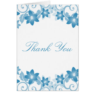 Blue Simple Floral Thank You Card