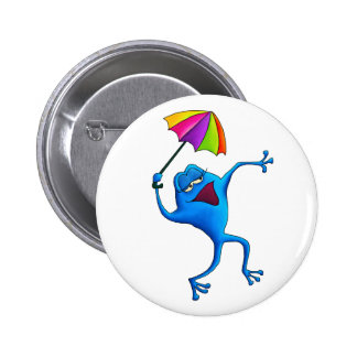 Blue Singing Frog with Umbrella 2 Inch Round Button