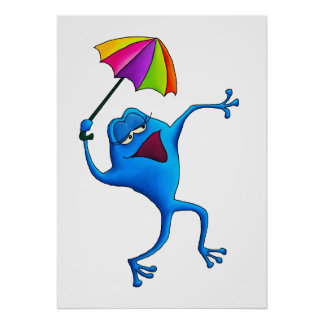 Blue Singing Frog with Umbrella Poster