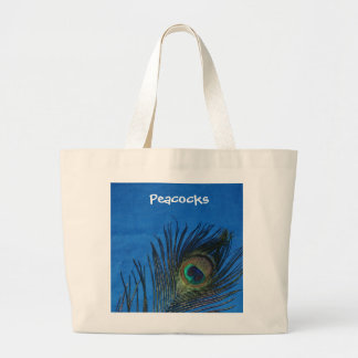 Blue Single Peacock Feather Jumbo Tote Bag