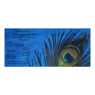 Blue Single Peacock Wedding Program Custom Rack Card