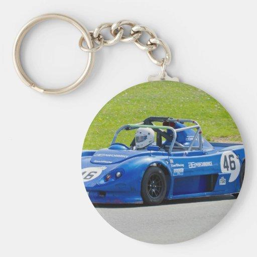 Blue single seater race car key chains