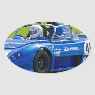 Blue single seater race car oval stickers