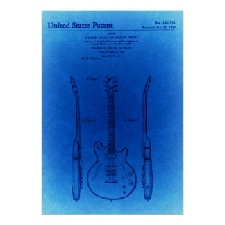 Blue Sketch Jazz hollow body style guitar Patent Poster