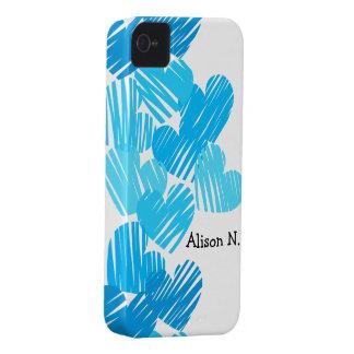 Blue sketchy Hearts + Name BlackBerry Bold Case