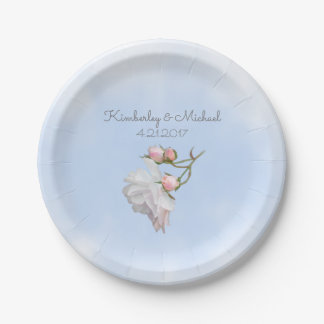 Blue Skies and Roses 7 inch Paper Party Plates