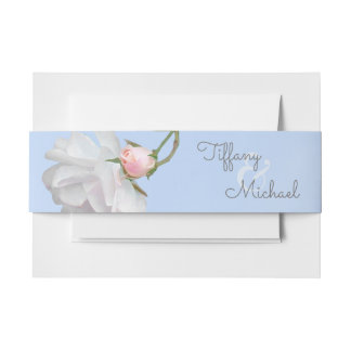 Blue Skies and Roses Wedding Envelope Belly Bands Invitation Belly Band