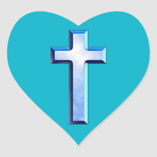 Blue Skies Cross Heart Sticker