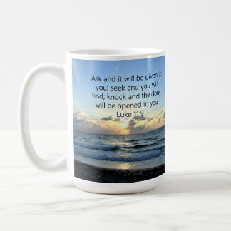 BLUE SKIES LUKE 11:9 OCEAN PHOTO DESIGN COFFEE MUG