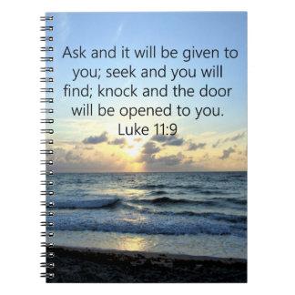 BLUE SKIES LUKE 11:9 OCEAN PHOTO DESIGN SPIRAL NOTEBOOK