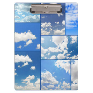 Blue Skies & White Clouds Collage Clipboard