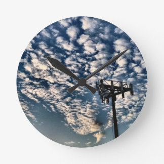 Blue Skies with Scattered Clouds - HDR Wall Clocks