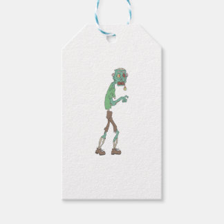 Blue Skinned Creepy Zombie With Rotting Flesh Outl Gift Tags