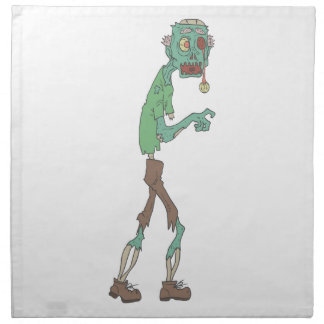Blue Skinned Creepy Zombie With Rotting Flesh Outl Napkin