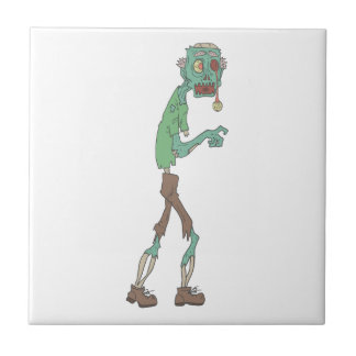 Blue Skinned Creepy Zombie With Rotting Flesh Outl Tile