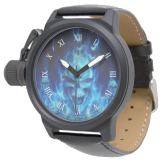 blue skul heads with flames tribal art watch