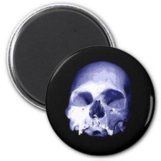 Blue Skull 2 Inch Round Magnet
