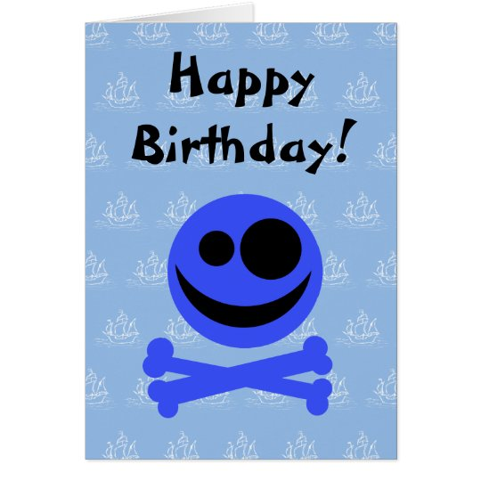 Blue Skull and Crossbones. Card