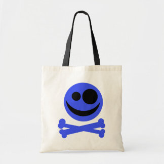 Blue Skull and Crossbones. Tote Bag