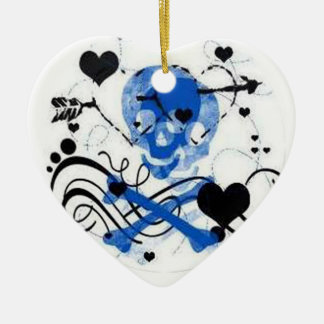 Blue Skull and Hearts Ornament