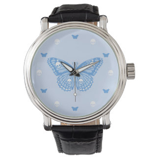 Blue Skull Butterfly Watch