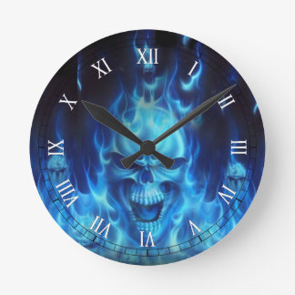 blue skull head with flames wallclock