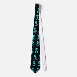blue skull hearts tie