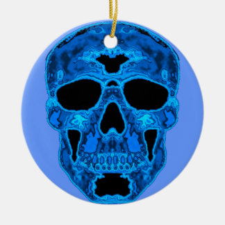 Blue Skull Horror Mask Round Ceramic Ornament