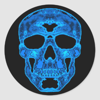 Blue Skull Horror Mask Round Sticker