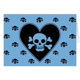 Blue Skull in Heart Card