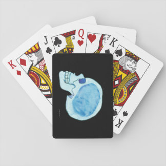 Blue Skull on black Playing Cards