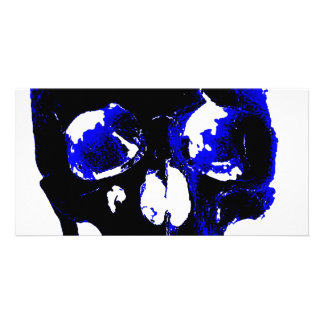 Blue Skull Pop Art Fantasy Personalized Photo Card