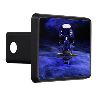 Blue Skull Trailer Hitch Cover