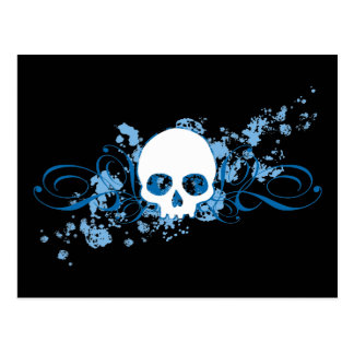 Blue Skull with Spatters and Swirls Postcard