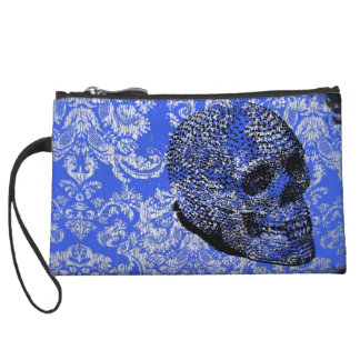 Blue Skull Wristlet Clutches