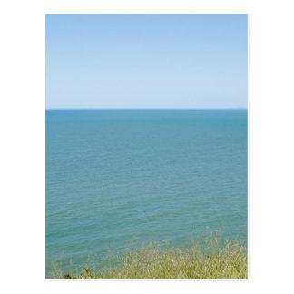Blue Sky and Blue sea Peaceful Ocean Photography Postcard