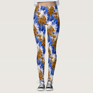 Blue Sky And Clouds Abstract Art Pattern Leggings